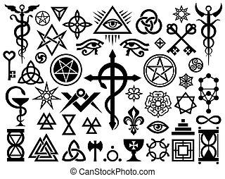 엄폐하다, 은 각인한다, 마술, 중세의, 표시