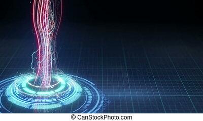 에너지, loopable, 광선, 모양, 미래다, 안내장