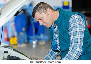 엔진, 남성, 노동자, 검사
