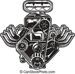 엔진, 터보, 벡터, 만화