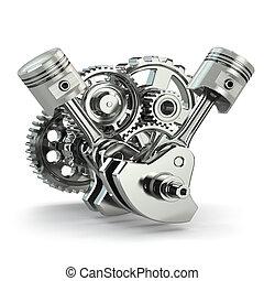 엔진, concept., pistons., 은 설치한다