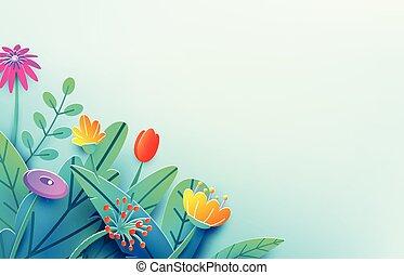여름, 구성, 봄, 공상, 밝은, 종이, origami, 구석, 경계, 스타일, 공급 절감, 고립된, 꽃, 배경., 최소의, 3차원, 자연, bouquet., space., 삽화, 꽃의, 사본, light., 잎, 벡터