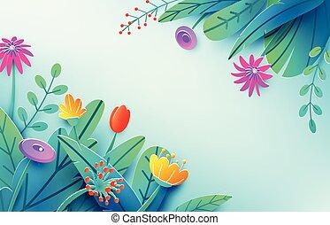 여름, 구성, 봄, 공상, 밝은, 종이, origami, 구석, 스타일, 공급 절감, concept., 고립된, 꽃, 최소의, 3차원, 자연, bouquet., space., 삽화, 배경, 꽃의, 사본, light., 잎, 벡터