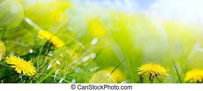 여름, 꽃, 예술, 봄, 떼어내다, 배경, 꽃의, 신선한, 풀, 또는