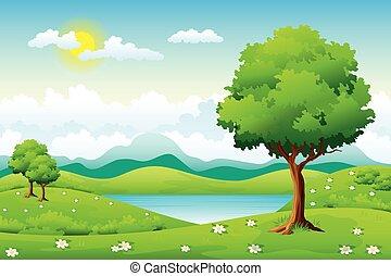 여름, 꽃, 조경술을 써서 녹화하다, 나무