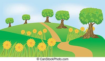 여름, 꽃, 조경술을 써서 녹화하다