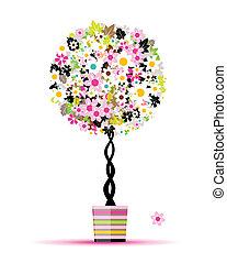 여름, 냄비 따위 하나 가득, 나무, 디자인, 꽃의, 너의