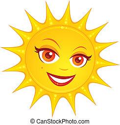 여름, 뜨거운, 태양