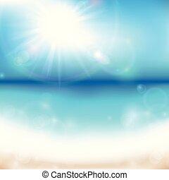 여름, 바다, 배경, 해돋이