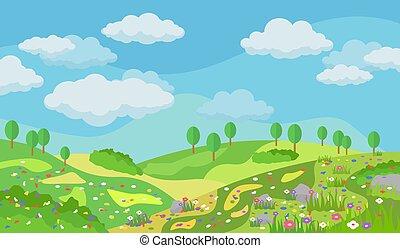 여름, 벡터, 꽃, 조경술을 써서 녹화하다, 삽화, 아름다운
