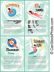 여름, 세트, 사람, 뜨거운, 재미, 포스터, 수영
