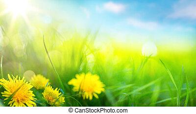 여름, 예술, 봄, 떼어내다, 배경, 신선한, 풀, 또는
