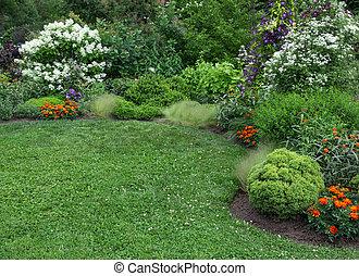 여름, 잔디, 녹색, 정원
