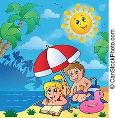 여름, 주제, 바닷가, 아이들