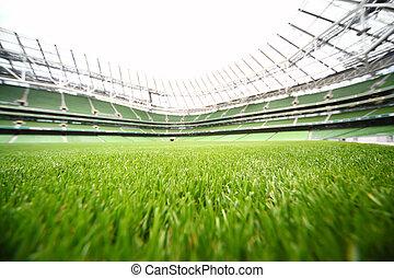 여름, 풀, 경기장, green-cut, 얕은 초점, 큰, 깊이, 들판, 일, 축구