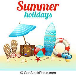 여름 휴가, 배경, 포스터