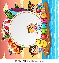 여름 휴가, 섬, 행복하다, 아이들