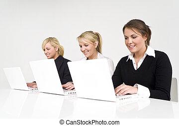 여성, 비즈니스 팀