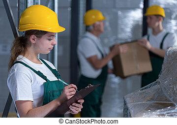 여성, 클립 보드, 노동자, 보유, 제조의