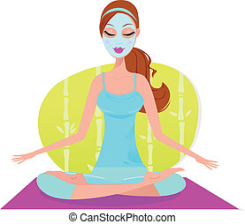 여자, 가면, 매트, 착석, 얼굴 마사지, 요가, meditat, 아름다운