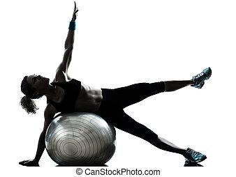 여자, 공, 연습, 적당, 운동시키는 것