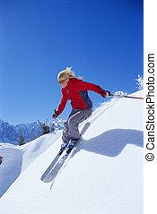 여자, 나이 적은 편의, 스키