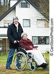 여자, 늙은, 휠체어, 아들, 연장자, 신중하다