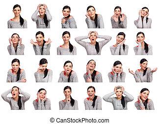 여자, 몇몇의, 나이 적은 편의, 고립된, 전시, 표현