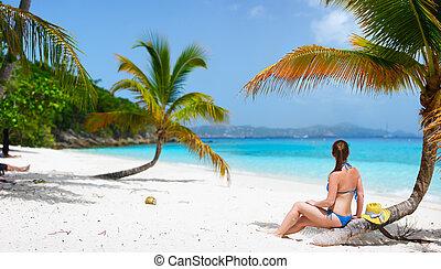 여자, 바닷가, 나이 적은 편의, 몸을 나른하게 하는