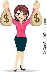 여자 실업가, 돈, 보유, 은 자루에 넣는다