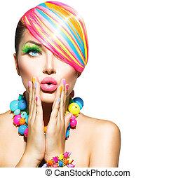 여자, 아름다움, 다채로운, 손톱, 구성, 부속물, 머리