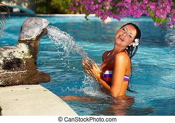 여자, 웅덩이, 수영
