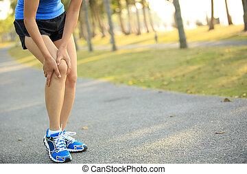 여자, 주자, 다리, 부상을 입는다, 운동회