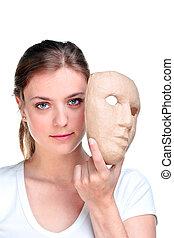 여자, mask.