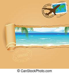여행, 바닷가, 배경, 바다