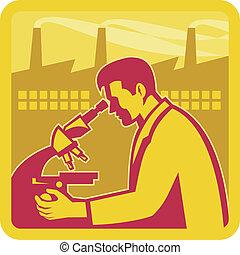 연구원, 건물, 과학자, 공장, retro
