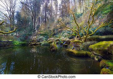 연못, 내려가다, 정원, 포틀랜드, 일본어