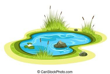 연못, 만화, 정원