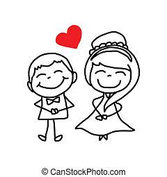 연인, 성격, 그림, 결혼식, 손, 만화