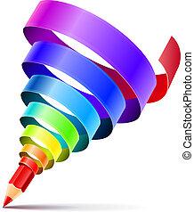 연필, 예술, 개념, 디자인, 창조