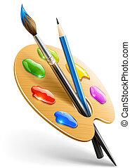 연필, 팔레트, 예술, 페인트 붓, 도구, 그림
