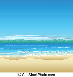 열대 바닷가, 배경, 삽화