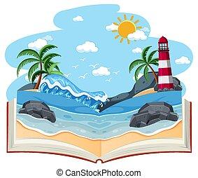 열려라, 공백, 장면, 바닷가, 책