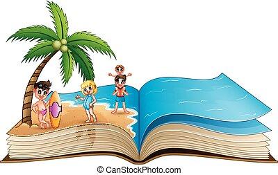 열려라, 열대적인, 책, 바닷가, 아이들, 행복하다