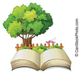 열린 책, 나무, 빈 광주리, 고매하다