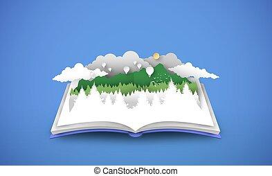 열린 책, 조경술을 써서 녹화하다, 숲, 3차원, papercut