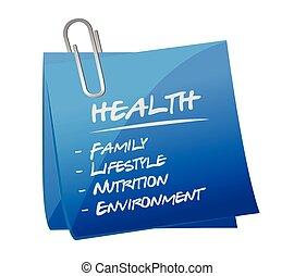 열쇠, 우편, 건강, 메모, 요소