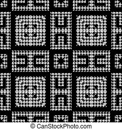 열쇠, pattern., 나뭇결이다, 꾸밈이다, 현대, houndstooth, meanders, grunge, 직물, 백색, 사냥개, 정방형, 벡터, ornaments., 디자인, 반복, 검정, 이, 그리스어, 기하학이다, zigzag., 배경., seamless