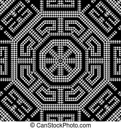 열쇠, pattern., 나뭇결이다, 꾸밈이다, 현대, octagons, houndstooth, meanders, grunge, 직물, 백색, 사냥개, 벡터, ornaments., 디자인, 반복, 검정, 이, 그리스어, 기하학이다, zigzag., 배경., seamless