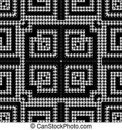 열쇠, pattern., 나뭇결이다, 꾸밈이다, houndstooth, meanders, grunge, 직물, 백색, 사냥개, 벡터, ornaments., 형체, 디자인, 반복, 검정, 이, 고전, 그리스어, 기하학이다, zigzag., 배경., seamless
